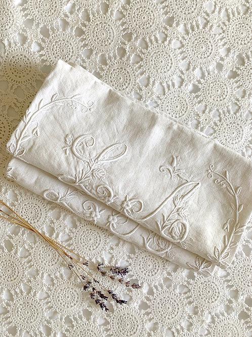 RARE Antique Set of 2 Pure Linen Monogrammed Pillow Savers