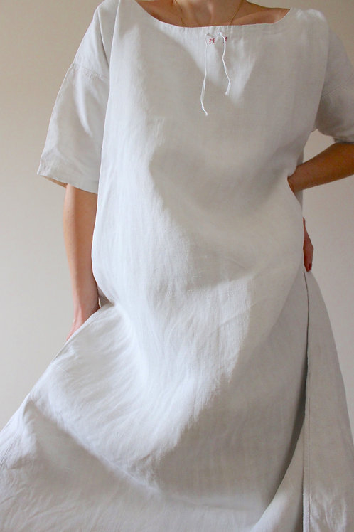 ANTIQUE French Unbleached Hemp Nightgown