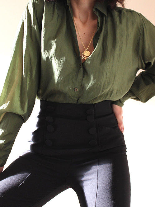 Pure Silk Forest Green Blouse