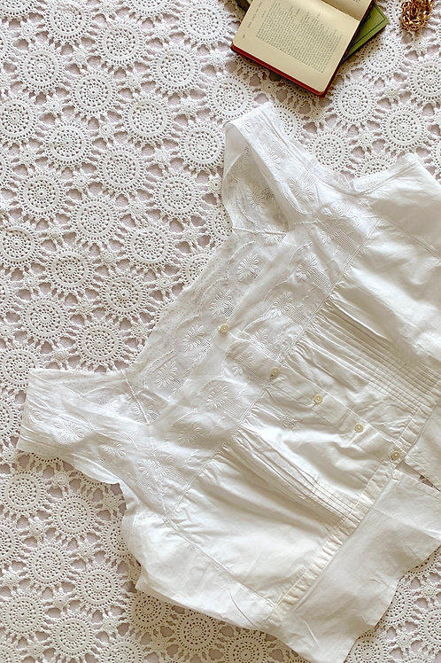 RARE Antique Monogrammed French Corset Cover, size L