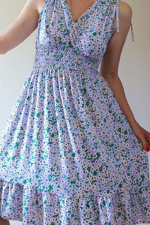 Vintage Sleeveless Floral Smocked Dress