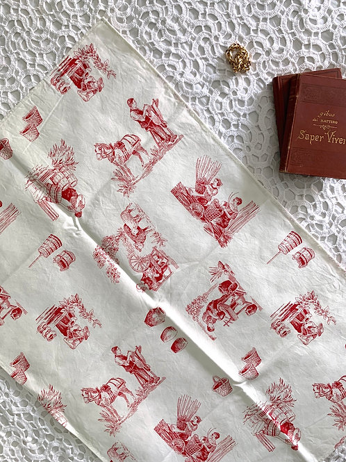 Vintage 100% COTTON Large Toile Tea Towel, MADE in ITALY