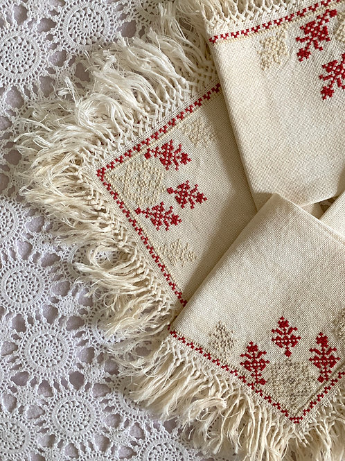 Set of 4 Antique Hand-Embroidered LINEN Table Mats