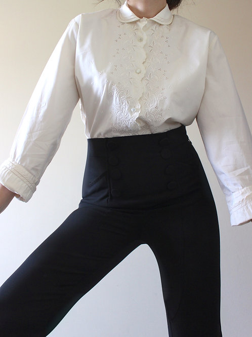 RARE Vintage 1940s Swiss Romantic Shirt with Broderie and Double Cuffs