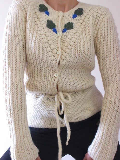 Vintage Handknit Austrian Cardigan, 100% Pure Wool