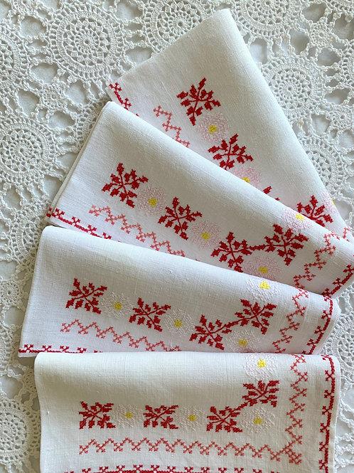 Vintage Set of 4 Cross-Stitched Floral LINEN Napkins