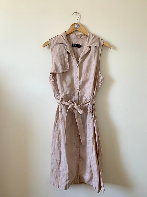 100% LINEN Trench Coat Dress with Pockets