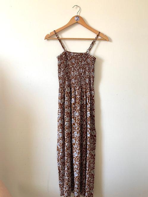 Vintage Midi Floral Smock Dress with Adjustable Straps
