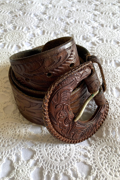 RARE Vintage 1970s Hand Tooled Western Leather Belt with Maxi Buckle