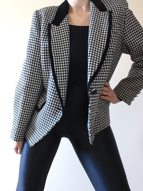 Vintage 100% Pure New Wool Houndstooth Blazer with Velvet Detail