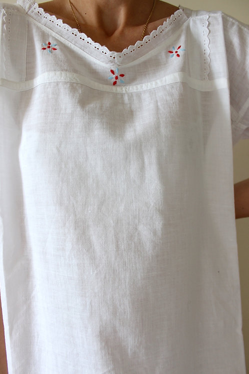 Antique PURE COTTON Italian Embroidered Dress with Broderie Detail