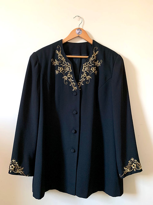 Vintage Overcoat with Gold Embroidery