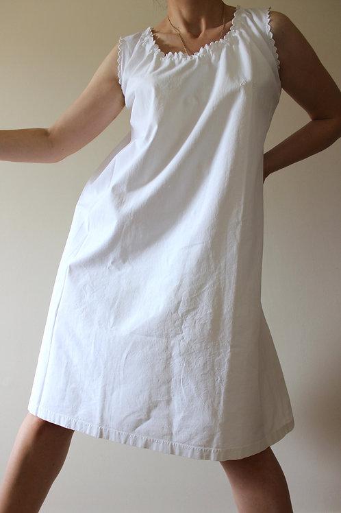 ANTIQUE French 100% Cotton Monogrammed Slip Dress