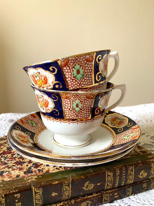 Antique Hand-painted ROYAL STAFFORD Tea & Saucer Set of 2 *small flaw*