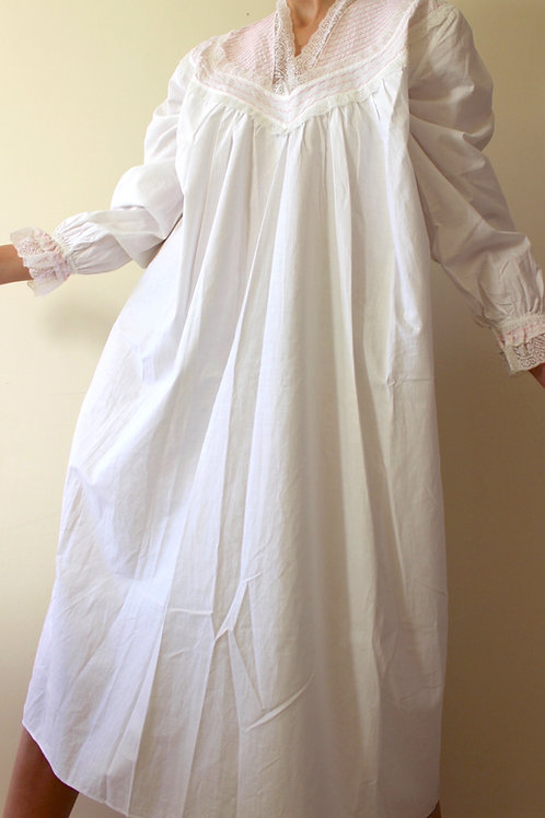Antique Victorian Cotton Nightgown with Lace