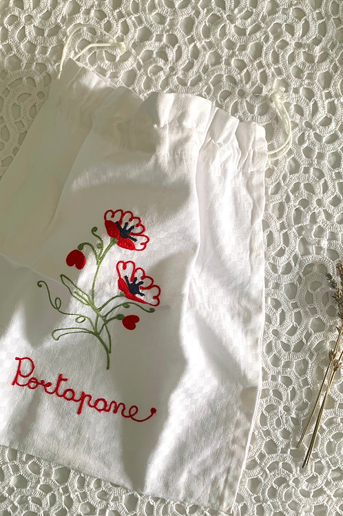 Italian Vintage 'Portapane' Embroidered Bread Holder Pouch