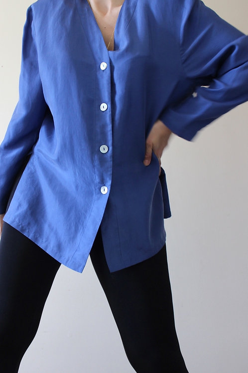 100% SILK Sea Blue Tunic Blouse