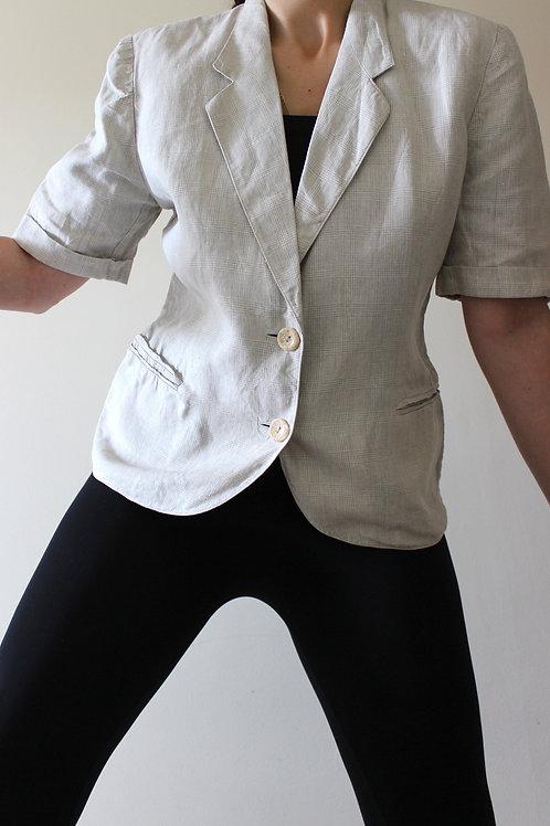 100% LINEN Vintage Prince of Wales Short Sleeve Blazer