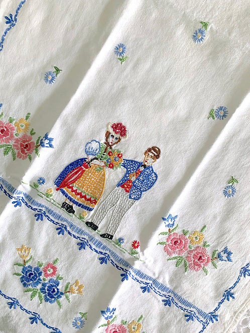 RARE Antique Tyrolean Hand-Embroidered 'LOVE' Folk Wall Hanging/ Curtain Panel