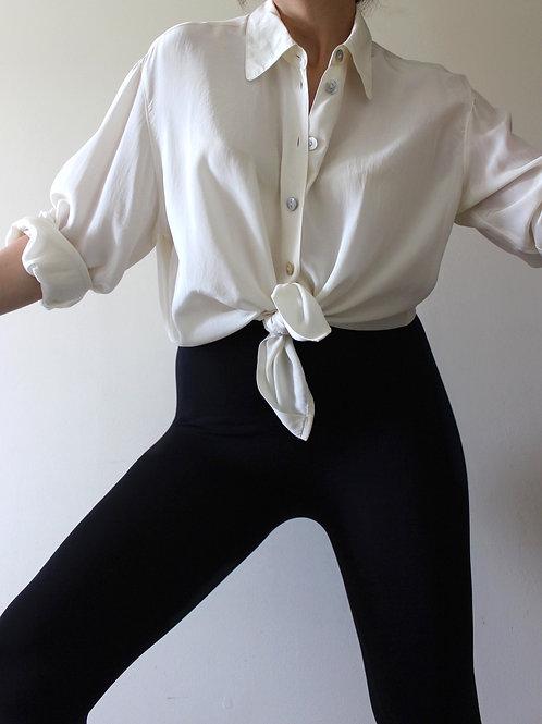 100% SILK Cream Minimalist Vintage Shirt