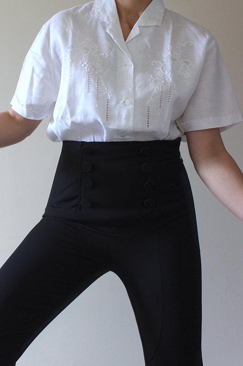 Vintage 100% LINEN Italian Hand-embroidered Shirt