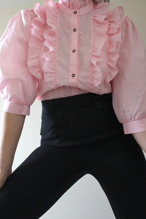 Vintage High Neck Austrian Puff Sleeve Blouse with Ruffles