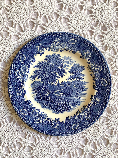 ANTIQUE Large Ironstone Blue & White Plate, MADE in ENGLAND