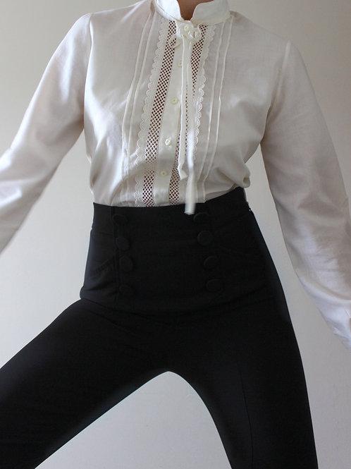 Vintage Cream Prairie Blouse with Neck Tie