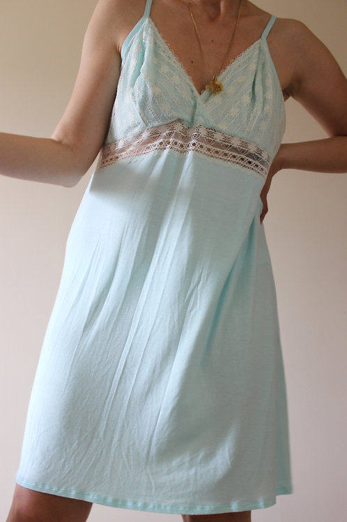 Vintage Acqua Slip with Lace and Adjustable Straps