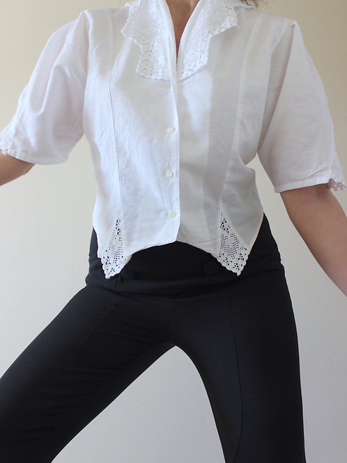 Vintage Romantic Cotton Blouse with Crochet Collar Made in Italy