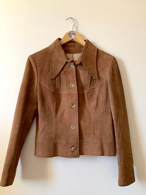 Vintage 1970s Western-Style Suede Jacket with Wide Lapels