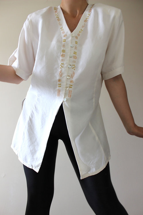 Vintage 100% SILK Betty Barclay Cream Tunic Blouse with Gold Embroidery