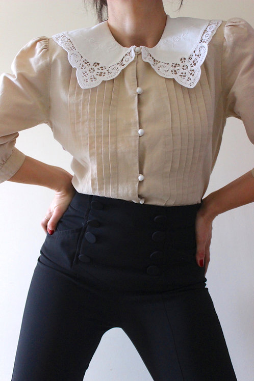 Vintage Oversize Collar Pure Cotton Blouse