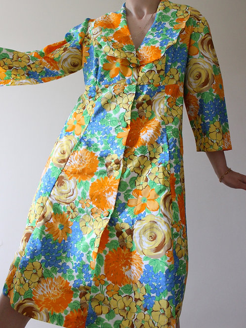 Vintage 1960s Floral Maxicollar Dress with Pockets