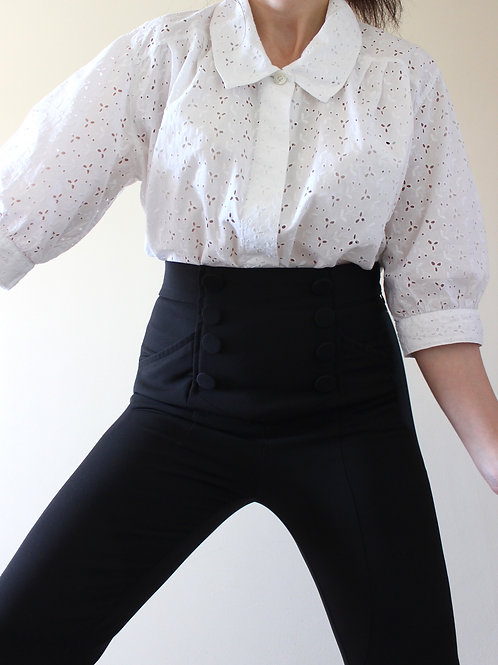 Vintage Broderie Anglaise Blouse with Peter Pan Collar