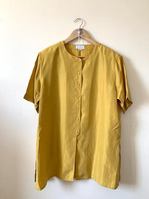 Vintage 100% SILK Minimalist Mustard Tunic Blouse