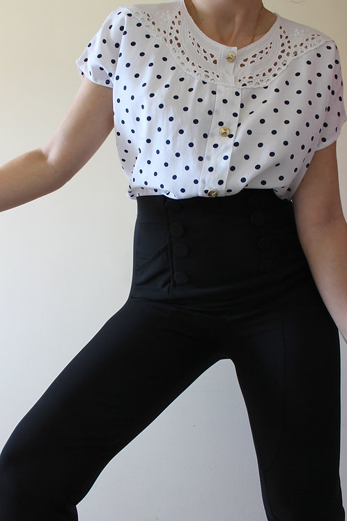 Vintage Polka Dot Cap Sleeve Top with Embroidered Collar