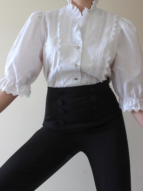 Vintage Austrian Princess Blouse with Puff Sleeves and Cutwork Embroidery