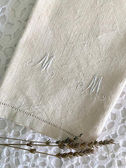 ANTIQUE Unbleached Organic LINEN Handmade Tea Towel with Monogram 'MM'