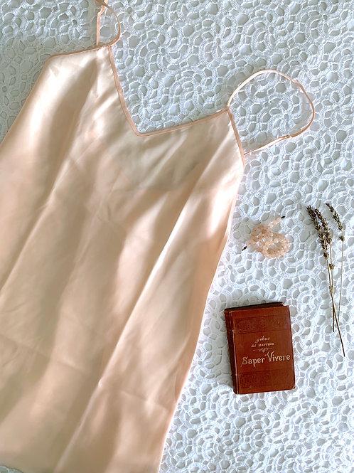 100% SILK Vintage Ballet Pink Slip with Adjustable Straps