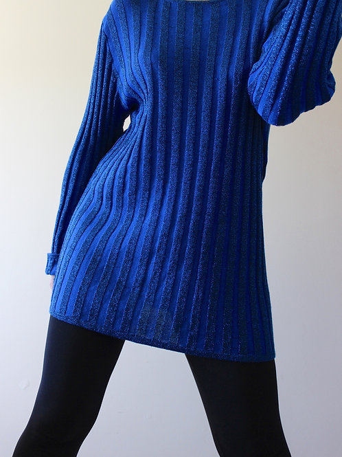 Vintage 1960s Sparkly Ribbed Sweater Minidress MADE in ITALY