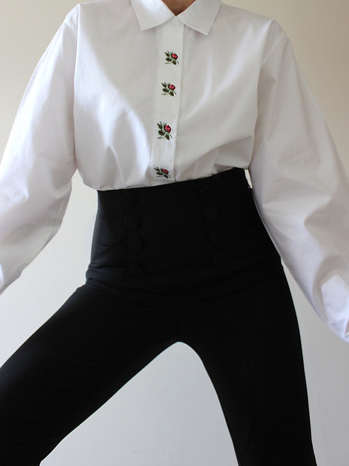 100% COTTON Embroidered Roses Austrian Shirt
