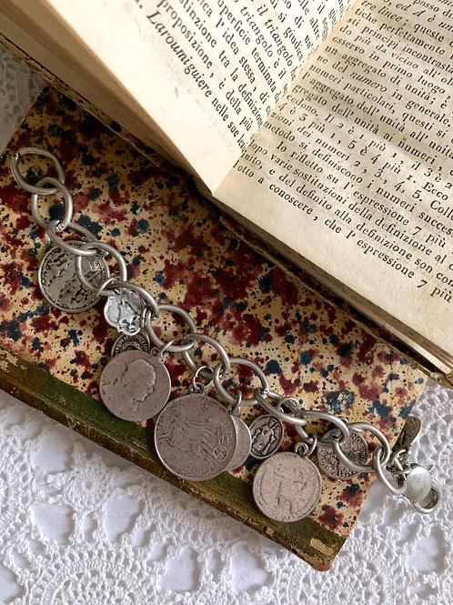 Vintage Italian Coins Charm Bracelet