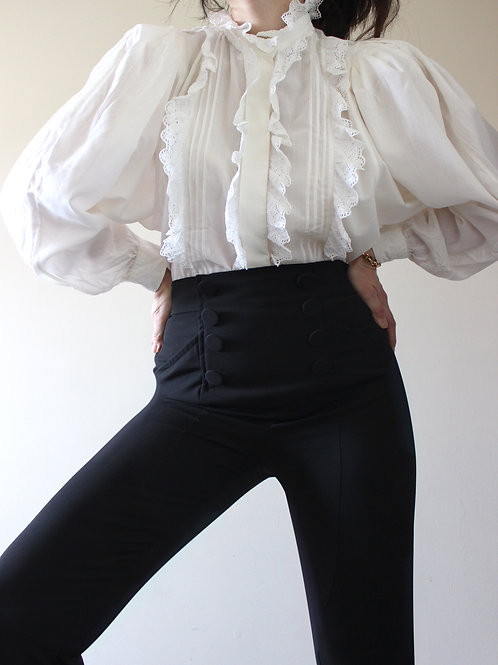 Vintage Edwardian-Style Austrian Blouse with Puff Sleeves