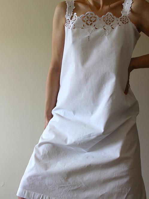 ANTIQUE Monogrammed Cotton Slip Dress with Broderie Straps