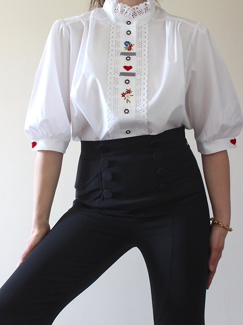 Vintage Puff Sleeve Folk Blouse with Broderie and Hearts Detail, MADE in GERMANY