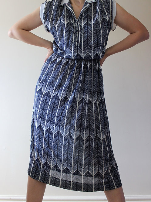 Vintage 1970s Collared Navy Dress with Organza MADE in ITALY