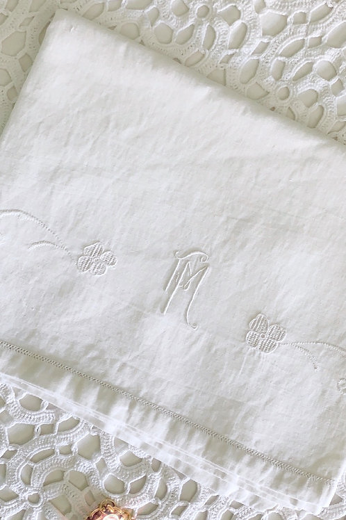RARE Antique Pure LINEN Large Bath Towel with Embroidery & Monogram