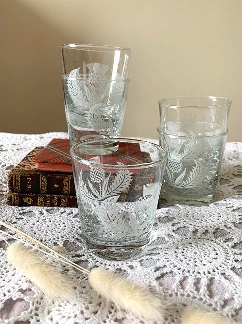 Vintage Scottish Thistle Table Glasses