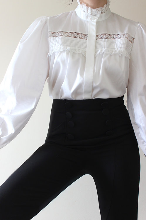 100% COTTON Luxury Vintage Folk Blouse with Lace MADE in AUSTRIA